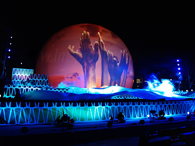 25 meter Stratosphere Projection Dome Stage Design Wonders of Angola TV Show Angola