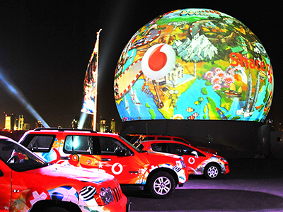 Vodaphone IPO Initial Public Offering Corporate event super bright projections brand experience full dome 360 degree immersive live experience Florida USA